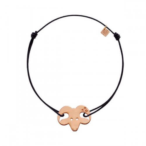 My Little Zodiac : Bracelet cordon signe Bélier (plaqué or rose)