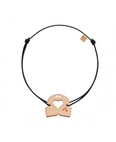 My Little Zodiac : Bracelet cordon signe Gémeaux (plaqué or rose)