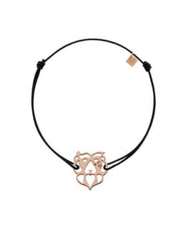 My Little Zodiac : Bracelet cordon signe Lion (plaqué or rose)