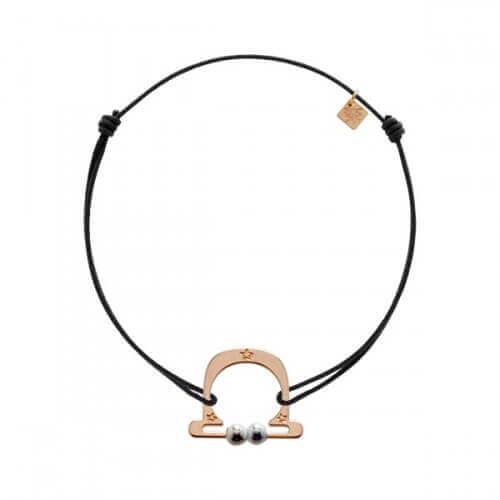 My Little Zodiac : Bracelet cordon signe Balance (plaqué or rose)