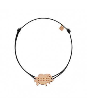 My Little Zodiac : Bracelet cordon signe Verseau (plaqué or rose)