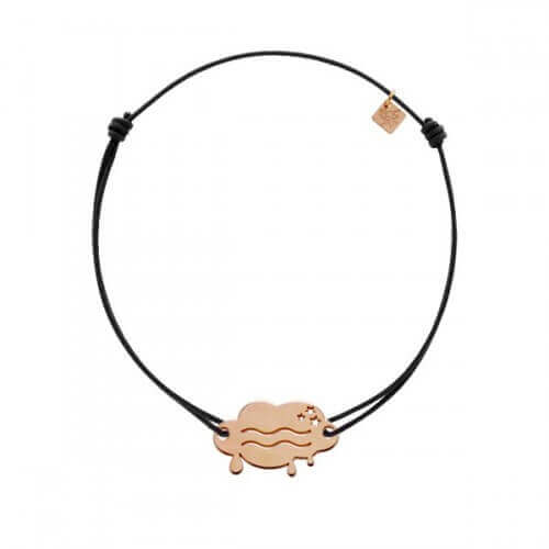 My Little Zodiac : Bracelet cordon signe Verseau (plaqué or rose)