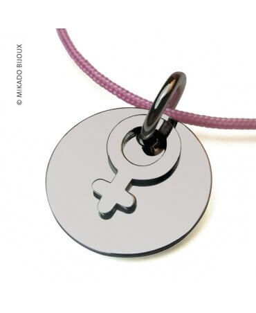 Mikado : pendentif I am a girl or blanc
