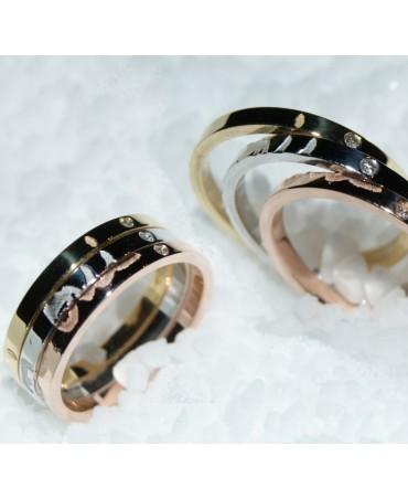 Les Empreintes : bague 3 anneaux or