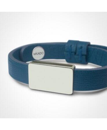 Mikado : bracelet cuir Hip Hop argent