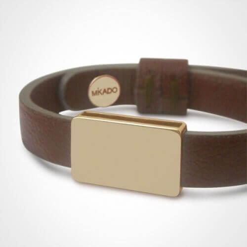 Mikado : bracelet cuir Hip Hop or jaune