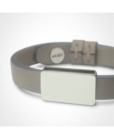 Mikado: bracelet cuir Hip Hop or blanc
