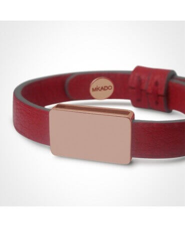 Mikado: bracelet cuir Hip Hop or rose