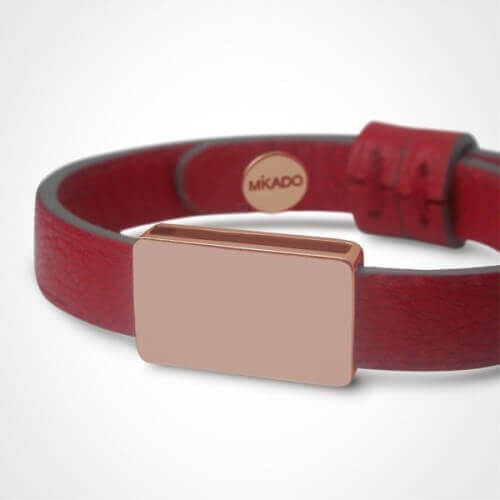 Mikado : bracelet cuir Hip Hop or rose
