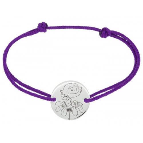 Bracelet cordon médaille fille or blanc 9 carats , Précieuse , La Fée  Galipette