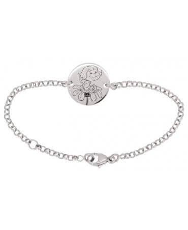 La Fée Galipette : bracelet chaîne médaille Précieuse or blanc 18 carats