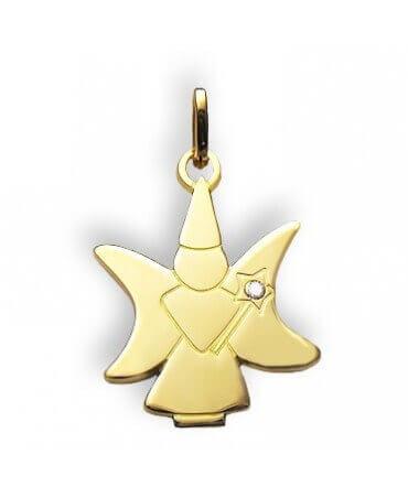 Daddo : pendentif fée lune diamant (or jaune)