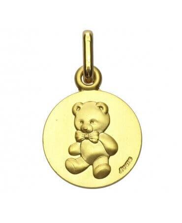 """Augis : médaille ours """"Les Loupiots"""" or jaune"""