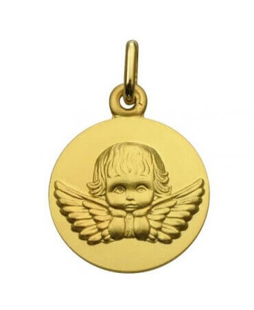 """Augis : médaille ange pensif """"Les Loupiots"""" or jaune"""