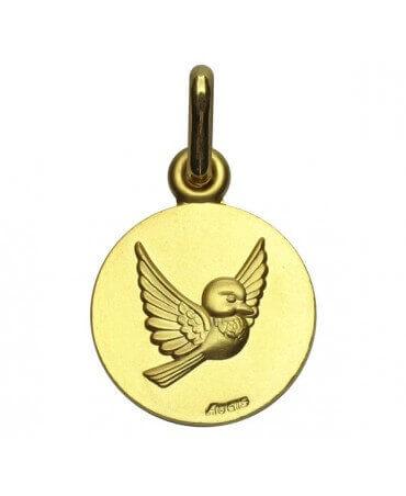 """Augis : médaille oiseau """"Les Loupiots"""" or jaune"""