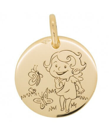 La Fée Galipette : médaille Maline Nature or jaune 18 carats