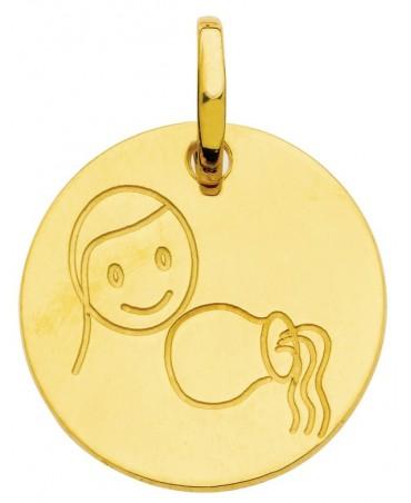 Pendentif zodiaque signe Verseau (or jaune)