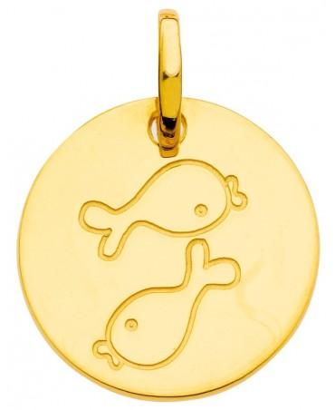Pendentif zodiaque signe Poisson (or jaune)