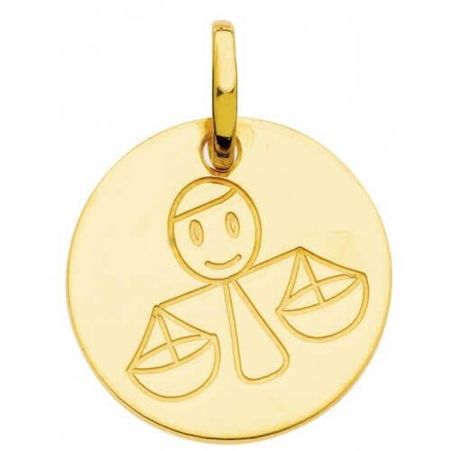 Pendentif zodiaque signe Balance (or jaune)