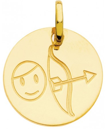 Pendentif zodiaque signe Sagittaire (or jaune)