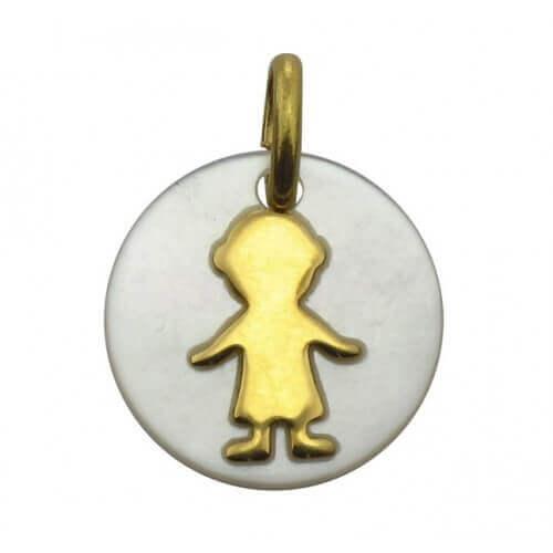 Augis : médaille garçon nacre et or jaune (14 mm)