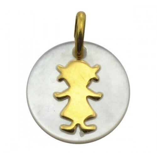 Augis : médaille fille nacre et or jaune (14 mm)