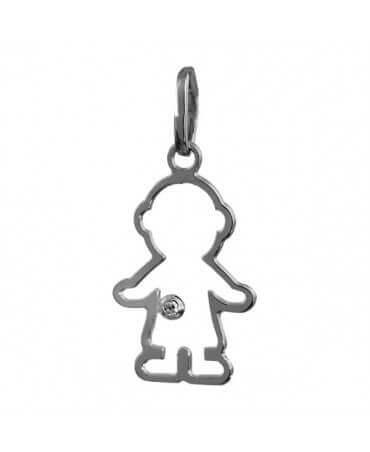 Augis : pendentif garçon Petit Trésor ajouré 16 mm (or gris)