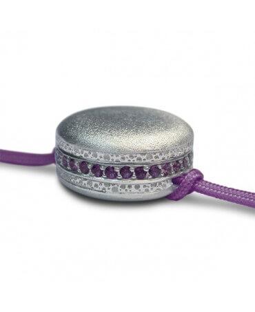 Pompadour : bracelet macaron argent et pierres (petit modèle)