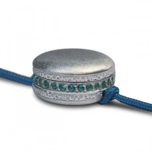 Pompadour : bracelet macaron argent et pierres (grand modèle)