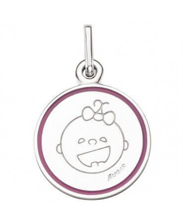 Augis : médaille fille Les Petites Bouilles (or blanc)