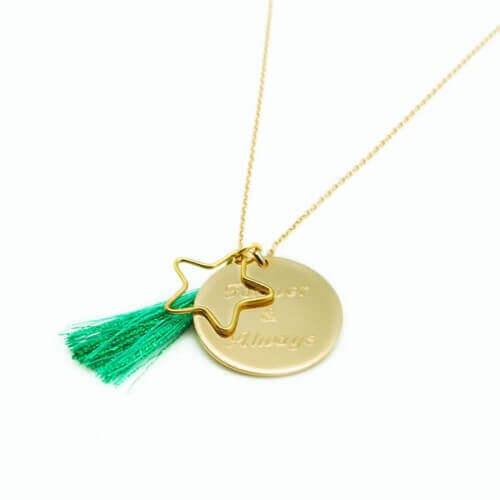 Petits Trésors : sautoir Boréal Vert (plaqué or)