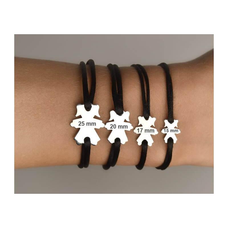 Nouveaux produits 5a9b3 6379d Bracelet cordon personnage fille (argent) - LOUPIDOU