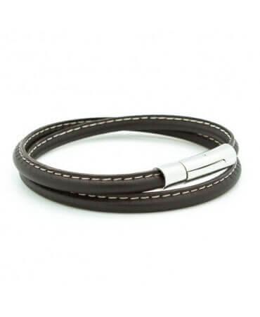 Petits Trésors : bracelet cuir homme Le Surpiqué