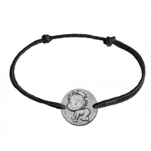 La Fée Galipette : bracelet médaille Blagueur or blanc