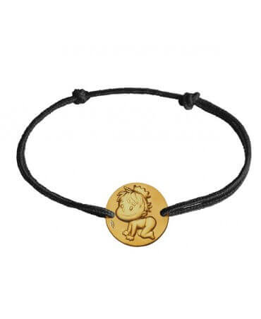 La fée galipette : bracelet cordon médaille blagueur or jaune