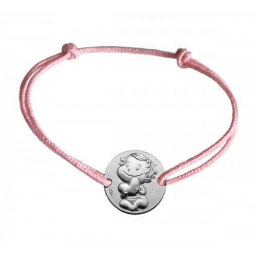 La fée galipette : bracelet cordon médaille câline or blanc