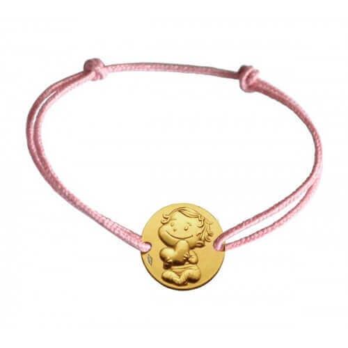 La fée galipette : bracelet médaille câline or jaune