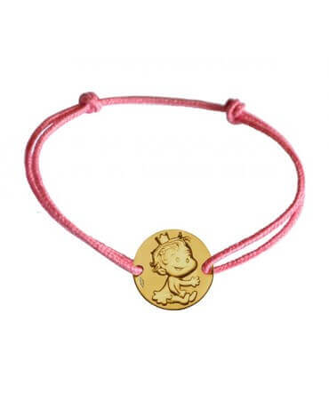 La fée galipette : bracelet cordon médaille curieuse or jaune