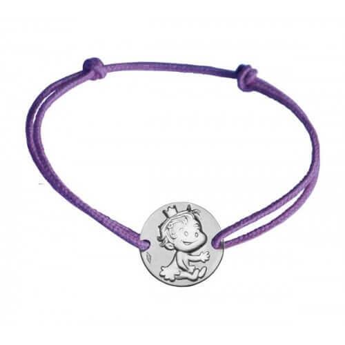 La fée galipette : bracelet cordon médaille curieuse or blanc
