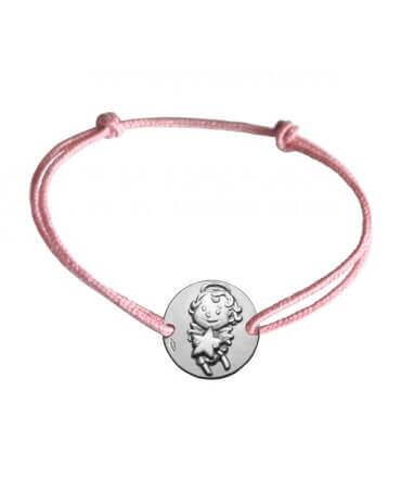 La fée galipette : bracelet cordon médaille maline or blanc