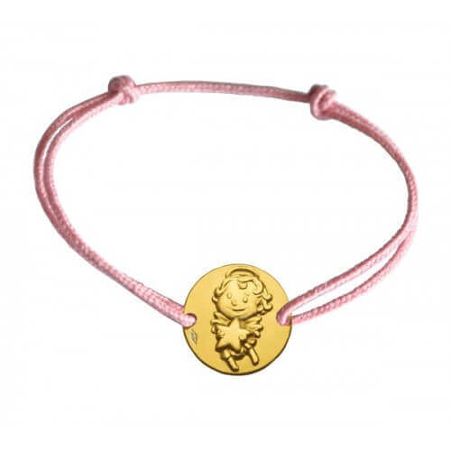 La Fée Galipette : bracelet médaille maline or jaune