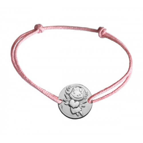 La Fée Galipette : bracelet médaille précieuse or blanc
