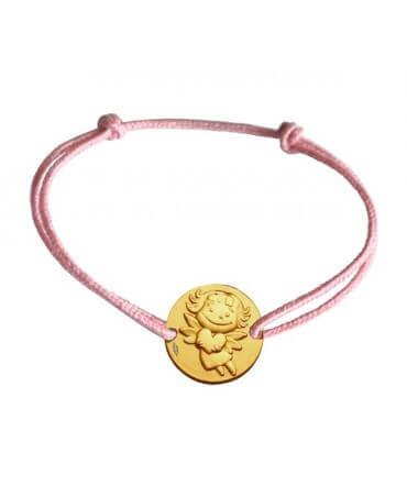 La Fée Galipette : bracelet médaille précieuse or jaune