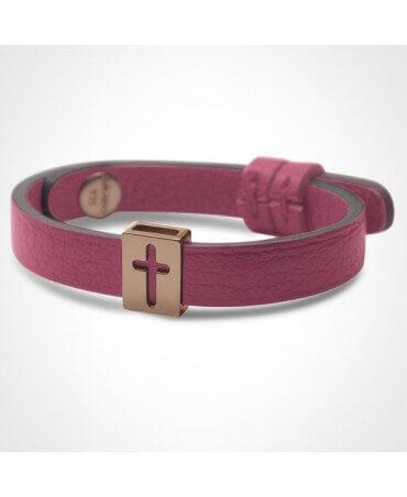 Mikado : bracelet croix Hallelujah (or rose)