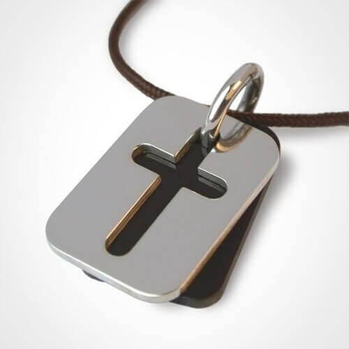 Mikado : pendentif croix Hallelujah (corne et argent)