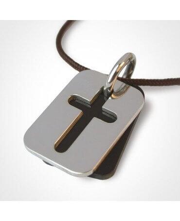 Mikado : pendentif croix Hallelujah (corne et or blanc)
