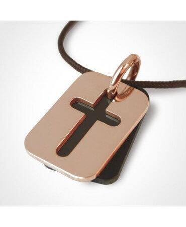 Mikado : pendentif croix Hallelujah (corne et or rose)
