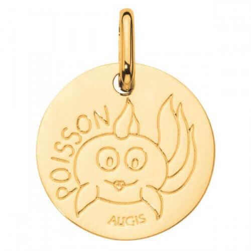 Augis : médaille poisson or jaune