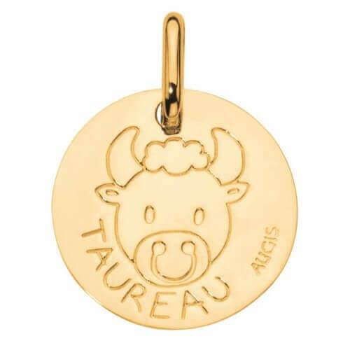 Augis : médaille taureau or jaune