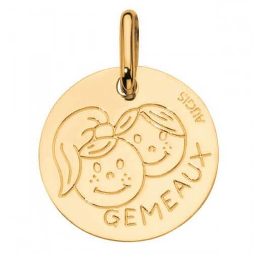 Augis : médaille gémeaux or jaune
